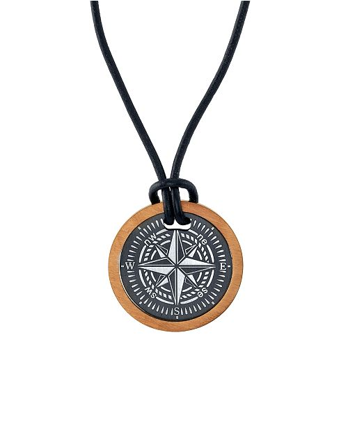 "He Rocks Two-Piece Compass 24"" Pendant Necklace in Stainless Steel"