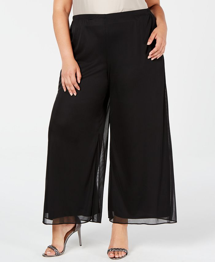 MSK - Plus Size Mesh Wide-Leg Pants