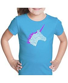 Girl's Word Art T-Shirt - Unicorn