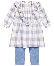 Bonnie Baby Baby Girl Ruffled Plaid Tunic & Leggings Set