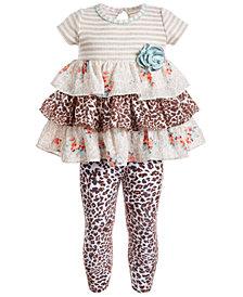 Bonnie Baby Baby Girls 2-Pc. Tiered Tunic & Animal-Print Leggings Set