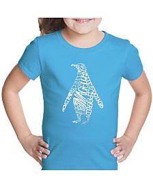 LA Pop Art Girl's Word Art T-Shirt - Penguin