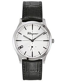 Men's Swiss Slim Black Leather Strap Watch 40mm