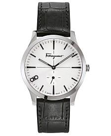 Ferragamo Men's Swiss Slim Black Leather Strap Watch 40mm