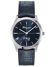Men's Swiss Slim Blue Leather Strap Watch 40mm