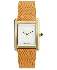 Ferragamo Women's Swiss Tank Lady Orange Karung Leather Strap Watch 24x32mm