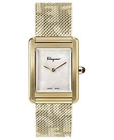 Women's Swiss Tank Lady Gold-Tone Stainless Steel Mesh Bracelet Watch 24x32mm