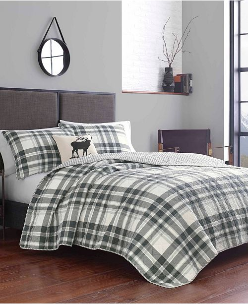 Eddie Bauer Coal Creek Plaid Comforter Set, Full/Queen