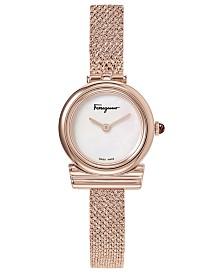 Ferragamo Women's Swiss Gancino Rose Gold-Tone Stainless Steel Bracelet Watch 22mm