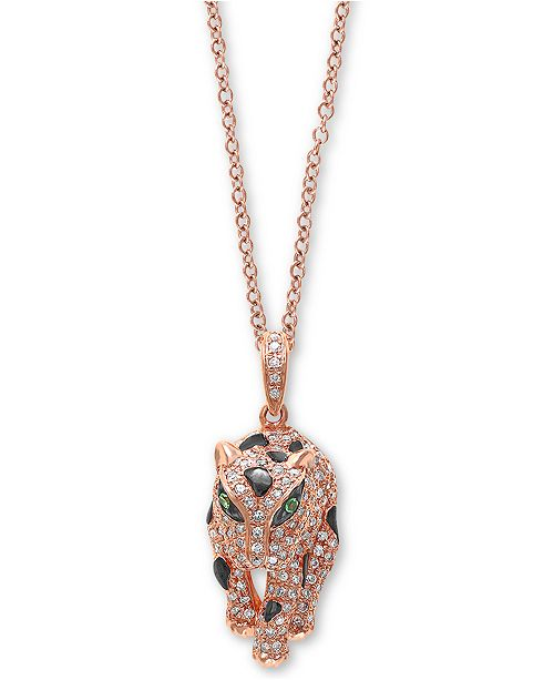 "EFFY Collection EFFY® Diamond (1/2 ct. t.w.) & Tsavorite Accent Panther 18"" Pendant Necklace in 14k Rose Gold"