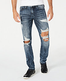 GUESS Men's Slim-Fit Ripped Jeans