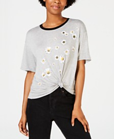 Rebellious One Juniors' Daisy Graphic Ringer T-Shirt