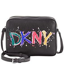 DKNY Tilly Paint Splatter Logo Camera Crossbody, Created for Macy's