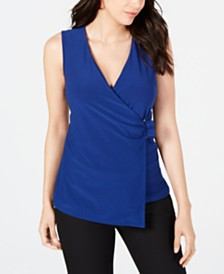 Alfani Petite Asymmetrical Wrap Top, Created for Macy's
