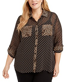 INC Plus Size Mixed-Print Sheer Blouse, Created for Macy's