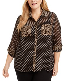 I.N.C. Plus Size Mixed-Print Sheer Blouse, Created for Macy's