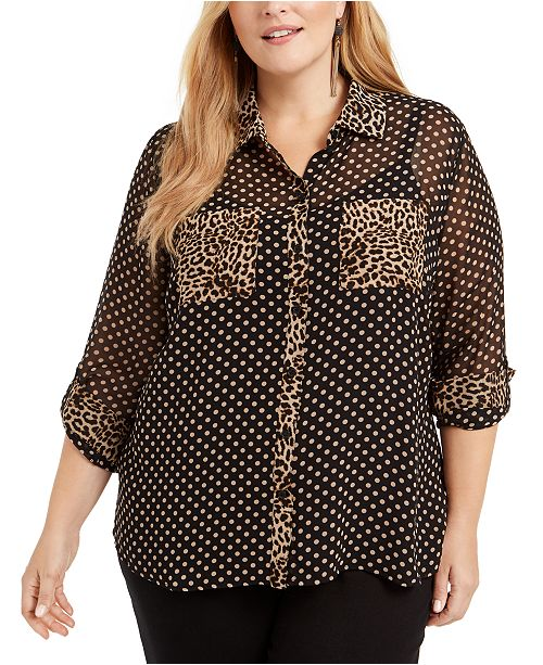 INC International Concepts INC Plus Size Mixed-Print Sheer Blouse, Created for Macy's