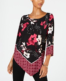 Alfani Petite V-Hem Top, Created for Macy's