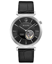 Bulova Men's Automatic Regatta Black Leather Strap Watch 40mm