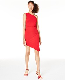 Juniors' Asymmetrical One-Shoulder Bodycon Dress