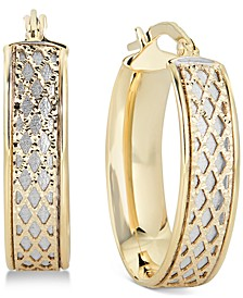 Lattice-Design Oval Hoop Earrings in 14k White Gold and 14k Gold