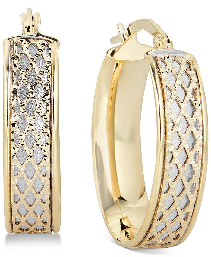 Italian Gold - Lattice-Design Oval Hoop Earrings in 14k White Gold and 14k Gold