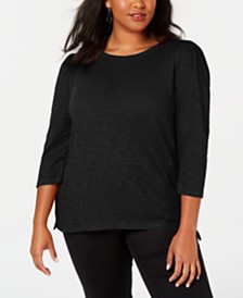 I.N.C. Plus Size Cotton Puff-Sleeve Top, Created for Macy's