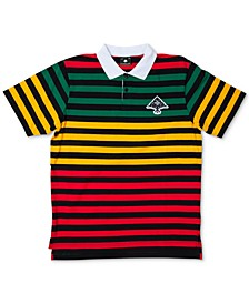 Men's Striped Colorblocked Polo Shirt