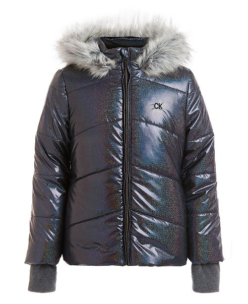 Calvin Klein Big Girls Metallic Chevron Puffer Hooded Jacket