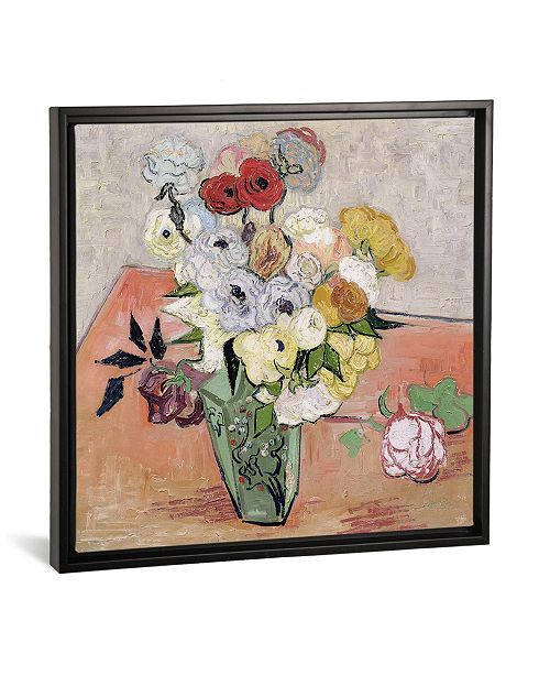 "iCanvas Japanese Vase with Roses and Anemones, 1890 by Vincent Van Gogh Gallery-Wrapped Canvas Print - 18"" x 18"" x 0.75"""