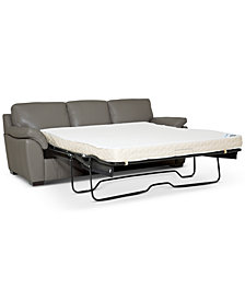 "Lothan 87"" Leather Queen Sleeper, Created for Macy's"