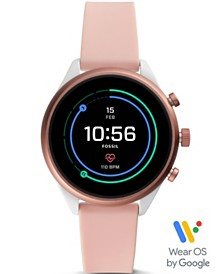 Fossil Women's Sport HR Blush Silicone Strap Smart Watch 41mm, Powered by Wear OS by Google™