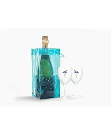 The Drop IT Blue Ice Bag - White Flamingo Wine Duo