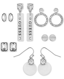 GUESS Silver-Tone 6-Pc. Set Crystal & Clear Resin Earrings