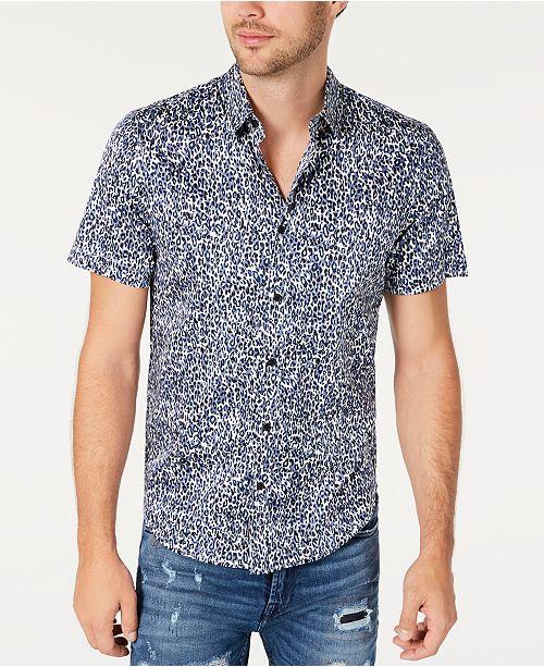 GUESS Men's Leopard Print Shirt