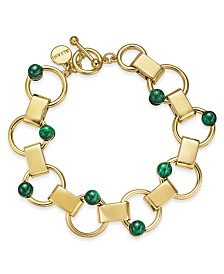 Alfani Gold-Tone & Green Malachite Stone Link Bracelet, Created for Macy's