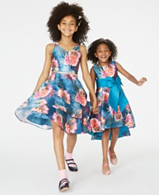 Rare Editions Toddler, Little & Big Girls Floral-Print High-Low Dress