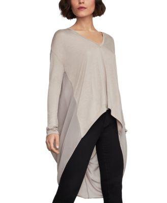BCBGMAXAZRIA Womens Long-Sleeve Asymmetrical Knit Top
