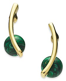 Alfani Gold-Tone & Green Malachite Stone Drop Earrings, Created for Macy's