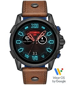 Men's Full Guard 2.5 Brown Leather Strap Touchscreen Smart Watch 48mm, Powered by Wear OS by Google™