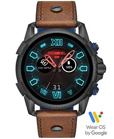 Diesel Men's Full Guard 2.5 Brown Leather Strap Touchscreen Smart Watch 48mm, Powered by Wear OS by Google™