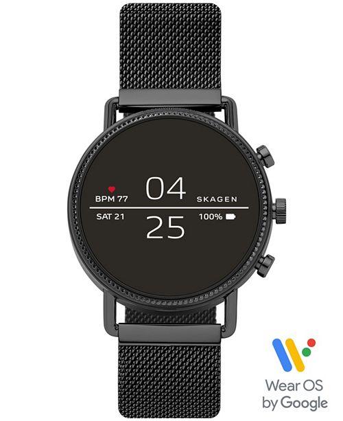Skagen Women's Falster 2 Black Ion-Plated Stainless Steel Mesh Bracelet Touchscreen Smart Watch 40mm, Powered by Wear OS by Google™
