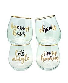"""Lets Mingle"" Set of 4 Stemless Wine Glasses"