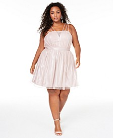 Trendy Plus Size Shimmer Fit & Flare Dress