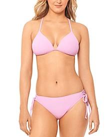 Juniors' Textured Push-Up Bikini Top & Textured Side-Tie Hipster Bikini Bottoms, Created for Macy's