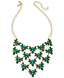 """I.N.C. Gold-Tone Square Stone Statement Necklace, 16"""" + 3"""" extender, Created for Macy's"""