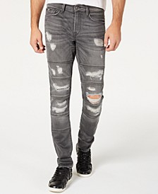 Men's Slim-Fit Tapered Multi Stitched Ripped Jeans