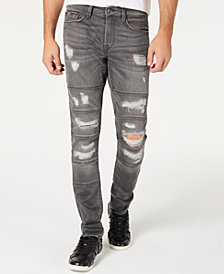 GUESS Men's Slim-Fit Tapered Multi Stitched Ripped Jeans