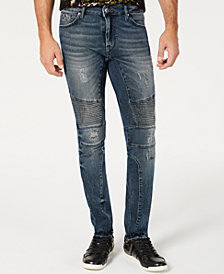 GUESS Men's Moto Ripped Skinny Jeans
