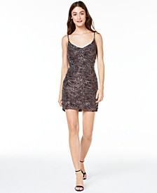 Juniors' Ruched Zebra-Print Dress